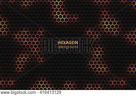 Tech Hexagonal Vector Background. Yellow Bright Energy Blinks Under The Hexagon In Dark Tech Modern