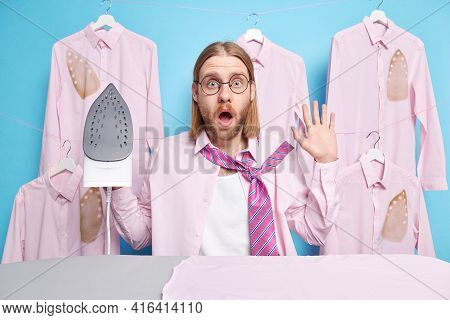 Domestic Life And Housework Concept. Stunned Emotive Redhead Caucasian Man Dresses For Date Or Corpo