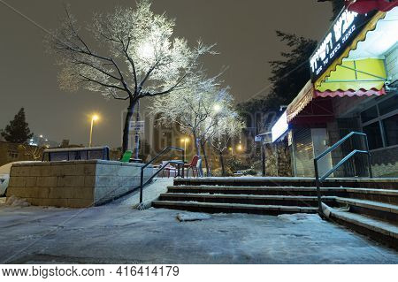 Jerusalem-israel.17-02-2021. The Commercial Center Of The Givat Mordechai Neighborhood Is Covered In