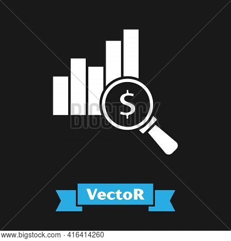 White Pie Chart Infographic And Dollar Symbol Icon Isolated On Black Background. Diagram Chart Sign.