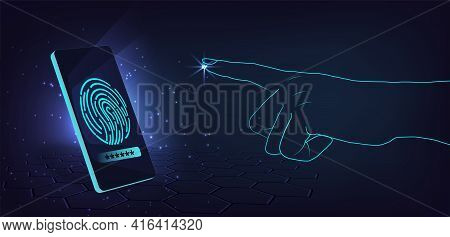 Mobile Security Design Concept.unlock Mobile Phone With Scanning Fingerprint.security And Protection