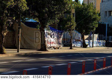 01-02-2021. Jerusalem-israel. Protest Signs During A Demonstration Against Israeli Prime Minister Be