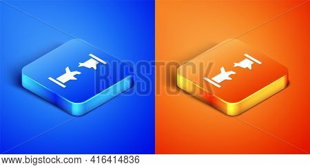 Isometric Broken Metal Pipe With Leaking Water Icon Isolated On Blue And Orange Background. Square B