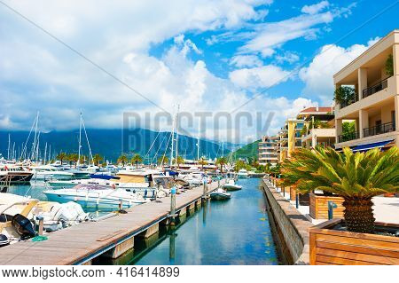 Yachts In Sea Port Of Tivat, Montenegro. Kotor Bay, Adriatic Sea. Famous Travel Destination. Beautif