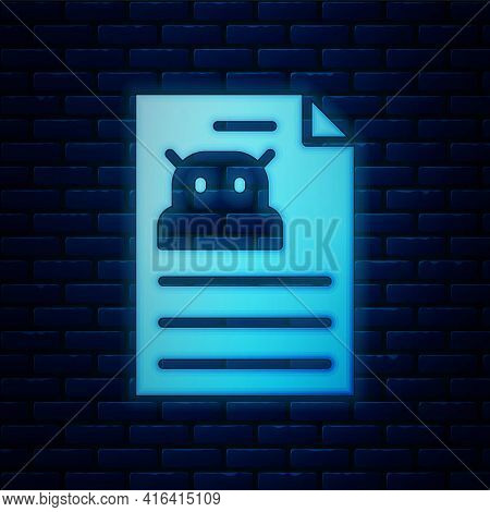 Glowing Neon Technical Specification Icon Isolated On Brick Wall Background. Technical Support Check
