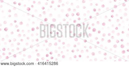 Seamless Pink Watercolor Circles. Rounds Texture. Graphic Spots Wallpaper. Cute Rose Watercolor Circ