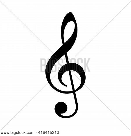 Vector Treble Or Violin Clef Musical Notation Symbol - Black Isolated Sign On White Background.