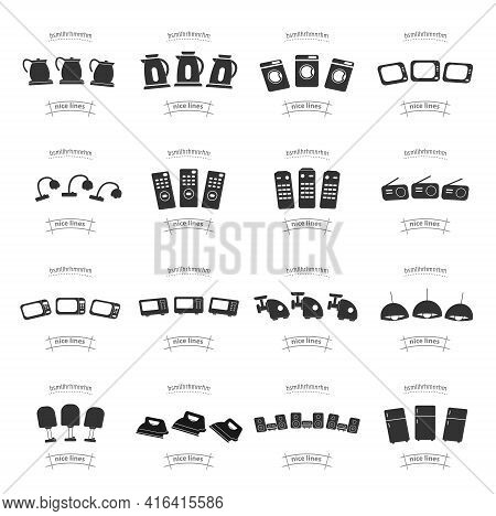 Set Of Household Appliances Icons. Home Appliances Icon Set With Tv, Fridge, Kitchen Appliances