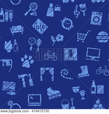 Shops, Seamless Pattern, Color, Hatching, Dark, Vector. Different Product Categories. Imitation Of P