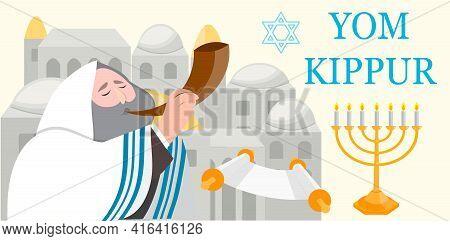 Yom Kippur Jewish Holiday Banner Or Greeting Card, Vector Illustration