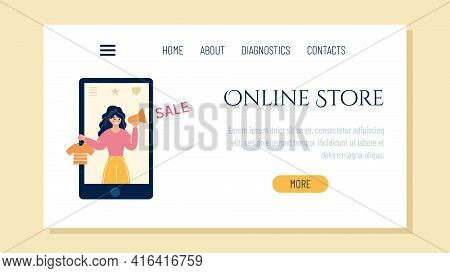 Design Of The Landing Page For An Online Store. The Girl In The Smartphone Informs About Discounts.