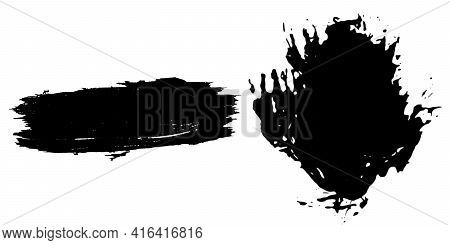 Spray Or Ink Black With Stain Or Splash Black And Dripping Paint. Liquid Watercolor Splatter. Concep