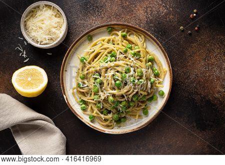 Whole Wheat Vegan Pasta On Dark Background
