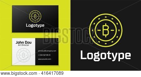 Logotype Line Cryptocurrency Coin Bitcoin Icon Isolated On Black Background. Physical Bit Coin. Bloc