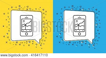 Set Line Mobile Stock Trading Concept Icon Isolated On Yellow And Blue Background. Online Trading, S