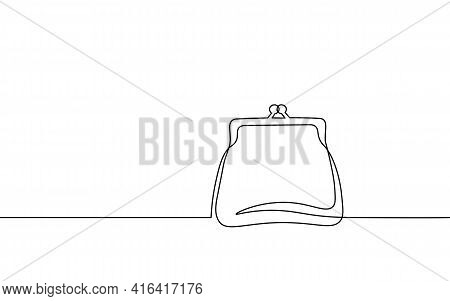 One Line Money Wallet. Online Market Trade Concept. Hand Drawn Sketch Continuous Line. E-commerce Fi