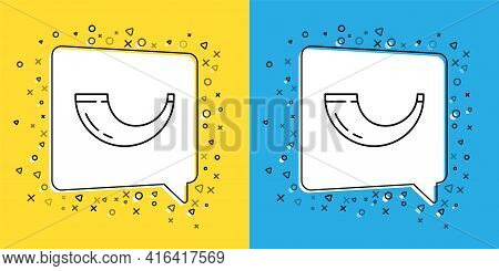 Set Line Traditional Ram Horn, Shofar Icon Isolated On Yellow And Blue Background. Rosh Hashanah, Je