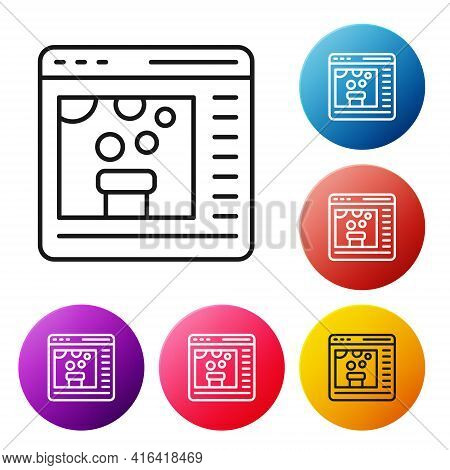 Black Line Chemical Experiment Online Icon Isolated On White Background. Scientific Experiment In Th