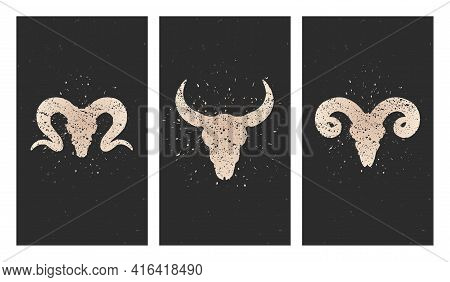 Vector Set Of Three Illustrations With Gold Silhouettes Skulls Bull, Rams And Grunge Elements On Bla