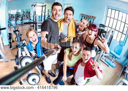 Happy Young Friends Taking Selfie After Reopening Of Gym Studio Center - Sporty People Ready For Fit