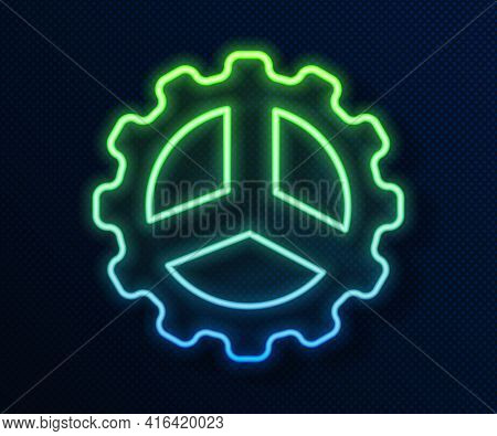Glowing Neon Line Bicycle Sprocket Crank Icon Isolated On Blue Background. Vector
