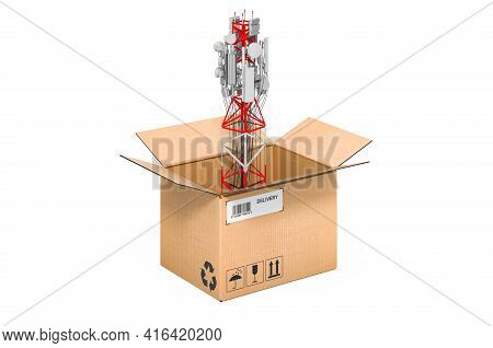 Mobile Tower With Cellular Phone Antennas Inside Cardboard Box, 3d Rendering Isolated On White Backg