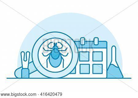 Blue Mini Illustration Of Beginning Of Tick Season. Tweezers Hook And Remedy For Bloodsuckers Medica