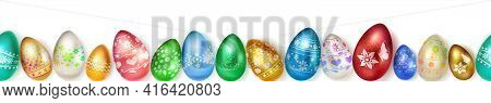 Banner Made Of Realistic Easter Eggs In Various Colors With Holiday Symbols, Glares And Shadows On W