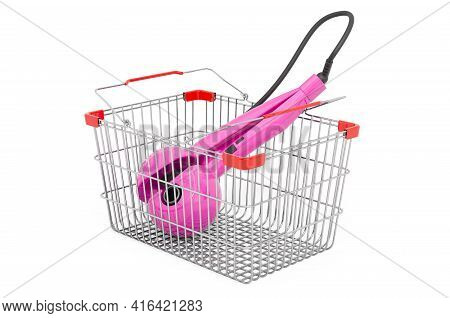 Shopping Basket With Curling Iron, Hair Curler. 3d Rendering Isolated On White Background