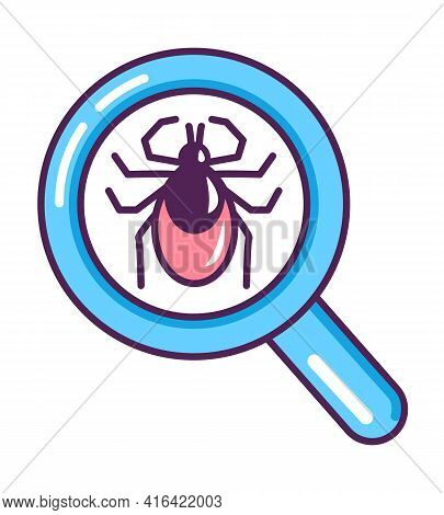 Pliers In A Magnifying Glass. Research Of A Deer Tick. Danger Of Canine Bloodsucker. Vector Flat Car