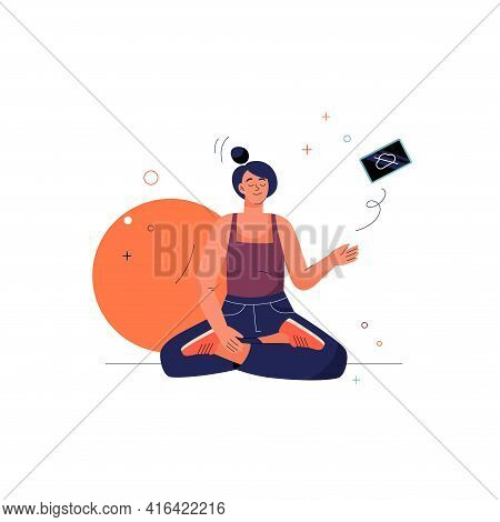 Offline Concept. Meditating Woman Sits In Lotus Asana Position