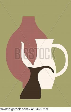 Vase Minimalist Pattern Background. Abstract Boho Vase Silhouette For Nursery Wall Decor, Home Decor