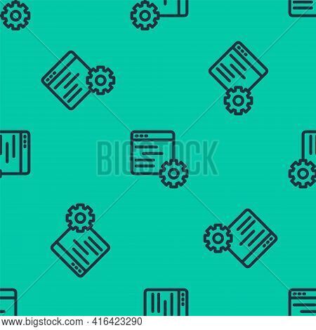 Blue Line Computer Api Interface Icon Isolated Seamless Pattern On Green Background. Application Pro
