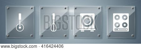 Set Gas Stove, Electric Stove, Kitchen Whisk And Pizza Knife. Square Glass Panels. Vector