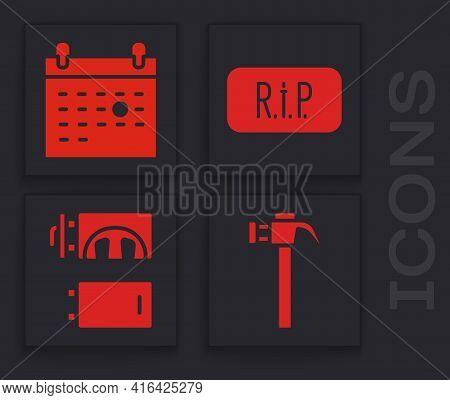 Set Hammer, Calendar Death, Speech Bubble Rip Death And Crematorium Icon. Vector