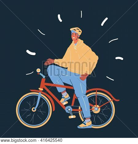 Illustration Of Cyclist, Young Man With Helmet And Riding Bicycle On Dark