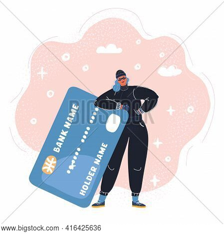 Illustration Of Thief With A Credit Card
