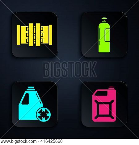 Set Canister For Gasoline, Industry Metallic Pipes And Valve, Antifreeze Canister And Industrial Gas
