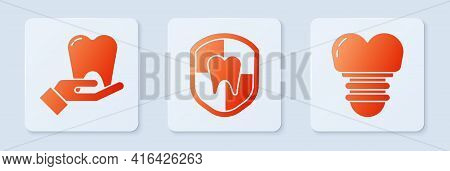 Set Dental Protection, Tooth And Dental Implant. White Square Button. Vector