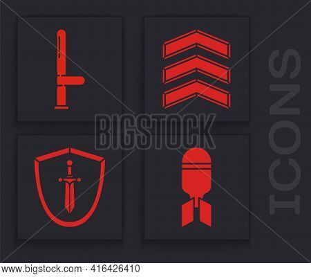 Set Aviation Bomb, Police Rubber Baton, Military Rank And Medieval Shield With Sword Icon. Vector