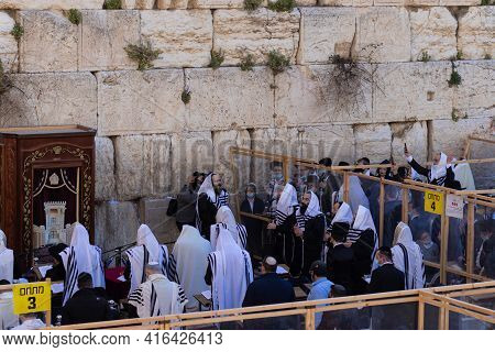 Jerusalem, Israel. 29-03-2021. A Choir Of Cantor Men In Prayer At The Western Wall, The Compound Is