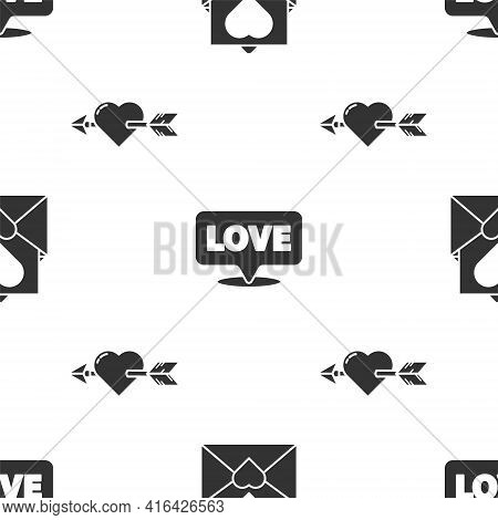 Set Envelope With Valentine Heart, Speech Bubble With Text Love And Amour With Heart And Arrow On Se