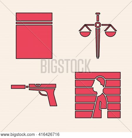 Set Suspect Criminal, Plastic Bag With Ziplock, Scales Of Justice And Pistol Or Gun With Silencer Ic
