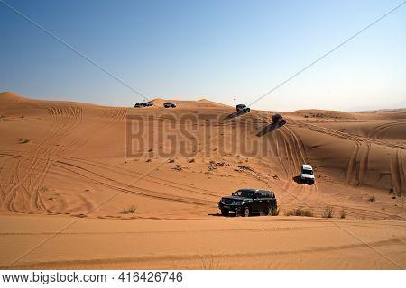 Dubai, United Arab Emirates – April 9, 2021, Mitsubishi Pajero, Early Morning Off-roading And Dune B