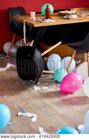 After Party Chaos, Messy In Livving Room At Home