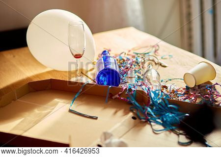 Messy Wooden Table At Morning After Party.