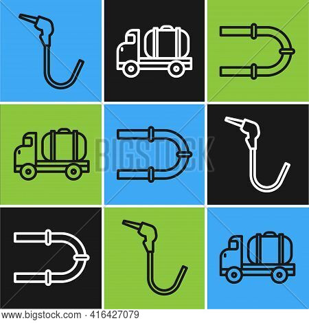 Set Line Gasoline Pump Nozzle, Industry Pipe And Tanker Truck Icon. Vector