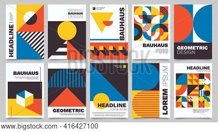 Bauhaus Forms. Square Tiles With Modern Geometric Patterns With Abstract Figures And Shapes. Contemp