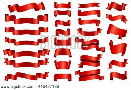 Red Silk Ribbon Banners. 3d Curved And Spiral Glossy Ribbons For Congratulation, Opening, Gift Or Fe
