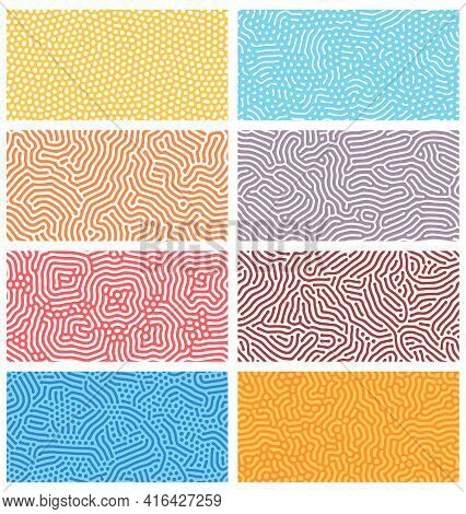 Diffusion Seamless Patterns. Modern Bio Organic Turing Design With Abstract Stipple, Dots And Lines.